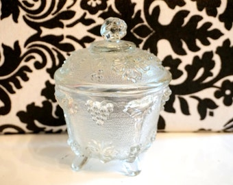 Vintage Glass Bowl with Lid