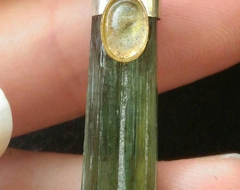 Green Tourmaline with Labradorite handmade gemstone pendant