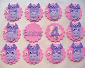 12 PONIES Personalized Fondant Cupcake Toppers  Pink Purple