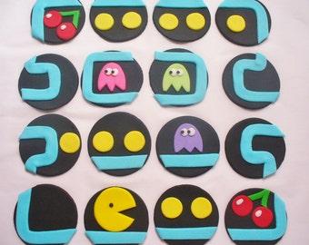 16 PACMAN Edible Fondant Cupcake Toppers