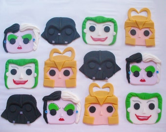 12 Funko POP Style Edible Fondant Cupcake Toppers