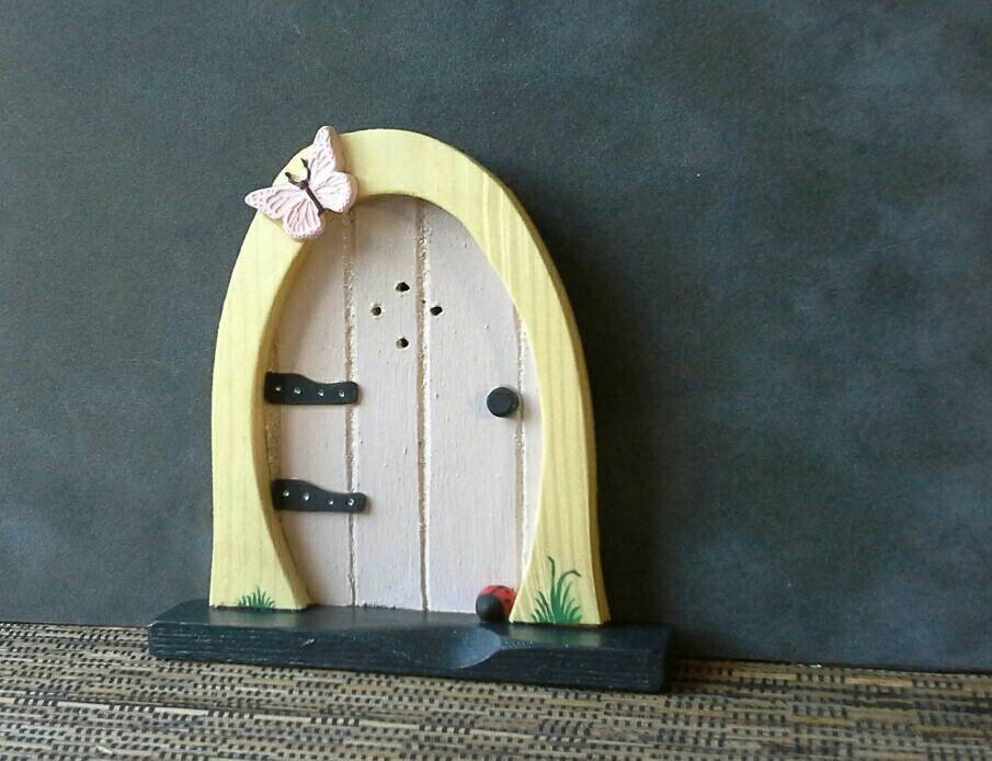 Handmade wooden fairy door by handmadebycarolynmee on etsy for Wooden fairy doors