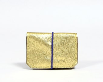 Isaac - golden/blue leather wallet