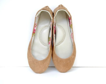 Handmade nubuck brown leather ballet flat shoes custom made