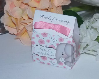 Elephant Favor Bags, Personalized Baby Shower Favors, Pink, Girl