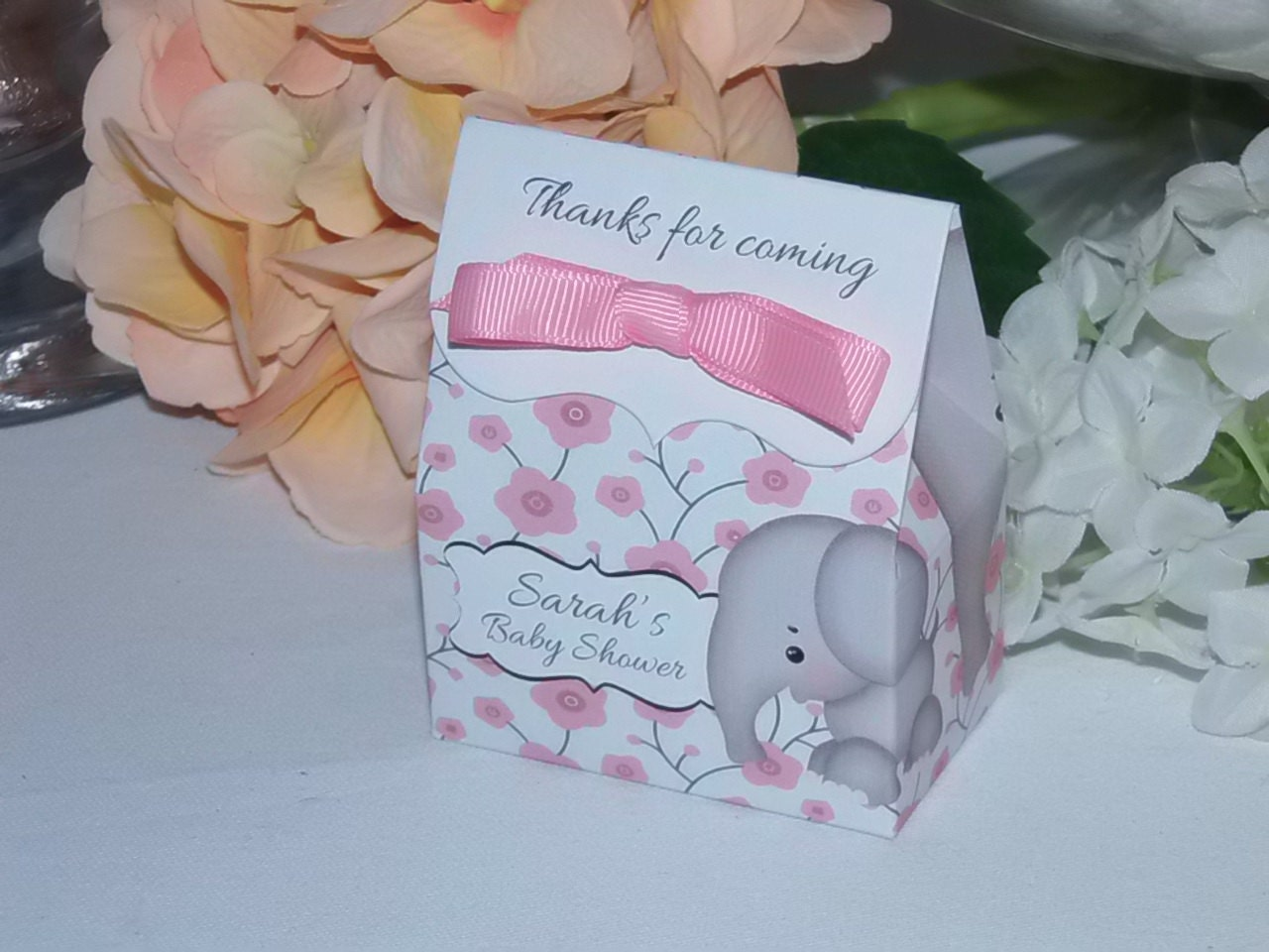 elephant favor bags personalized baby shower favors pink