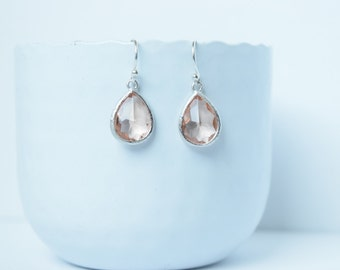 Earrings Peach silver and rhodium plated,Earrings glass,Dangling earrings,Earrings peach,Wedding earrings,Peach earrings,Drop peach