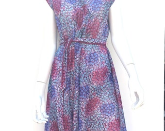 Vintage 70s Floral Polyester Faux Wrap Purple Abstract Floral Sundress