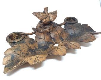 Black Forest Sparrow   Bird Inkwell, Desk, carved wood