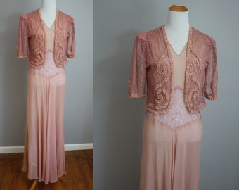 1930's Gown and Jacket // Sheer Pink with Soutache // Medium
