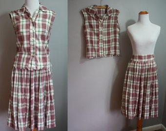 1950's Two Piece Set // Red and Green Plaid // XXS