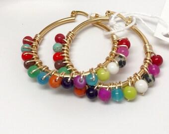 Multicolor Hoop Earrings Medium