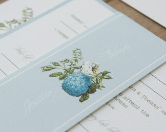 SAMPLE PACK Tuscany Blue Botanical Floral Wedding Invitations