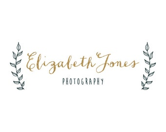 Premade Glitter Photography Logo and Watermark - Gold Glitter Photographer Logo - Hand Drawn Logo - Hand Drawn Laurel Photography Logo - 131