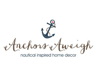 Premade Anchor Photography Logo and Watermark Nautical Logo - Heart Anchor Logo - Nautical Photography Logo - 134
