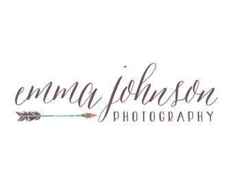 Arrow Photography Logo and Watermark Arrow Logo for Photographer - Hand Drawn Logo - Premade Hand Drawn Photography Logo Business Logo - 147