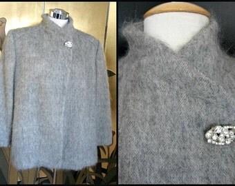 COUTURIER John Anthony 70s Jacket / fits L sz 14 / Vintage Gray Mohair Jacket / 70s Swing Jacket / John Anthony Pret