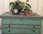 antique wood Machinist Trunk,industrial salvage,early tool box,handmade chest,worn green paint layers,primitive,farmhouse,cottage,home decor