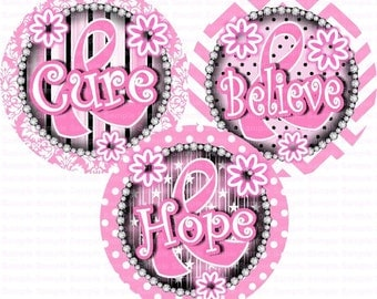 Breast Cancer Awareness (12) Bottle Cap Images 4x6 Bottlecap Collage Scrapbooking Jewelry Hairbow Center
