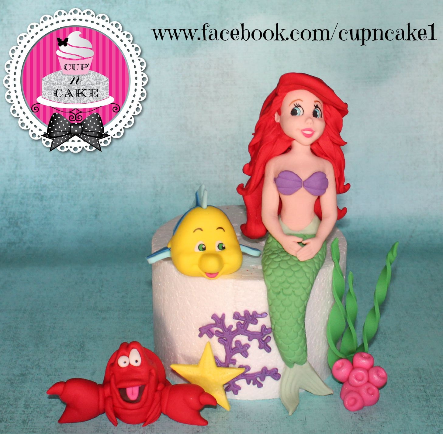 Little Mermaid Cake Decorating Kit Topper : Ariel Little Mermaid fondant cake topper by Cupncake1 on Etsy