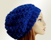 BLUE SLOUCHY Hat Crochet Knit Wool Royal Blue Slouchy Beanie Slouch Beany Women Hats Accessories Teen Hat Gift Idea