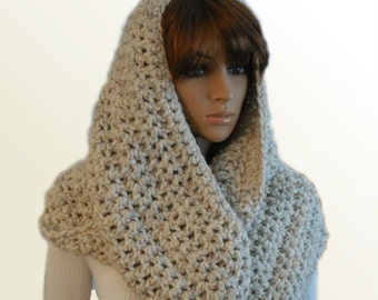 OVERSIZED INFINITY Scarf Crochet Extra Large Huge Hooded Mens Infinity Cowl Chunky Loop Beige Wheat Infiniti Scarf Womens Mens Knit Scarf