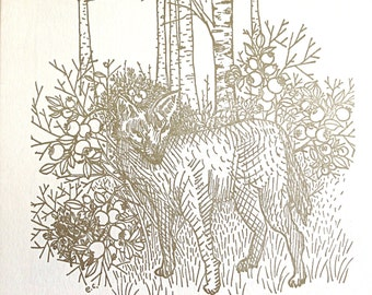 Letterpress Print Gold Coyote in Blueberry Bushes: Loose or Ready-To-Hang 7.25 x 8 inches