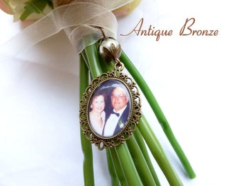 Pearl ~  Bridal Wedding Bouquet Photo Frame Charm, Memorial Charm For The Bridal Bouquet, With Lace, Silver or Antique Bronze Charm
