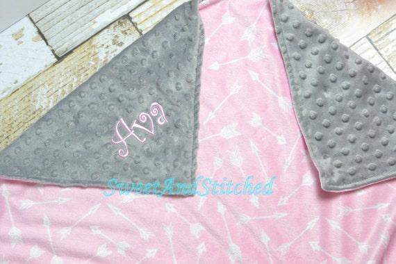 Personalized Girls Baby Minky Dot Blanket with arrows, Minky baby blanket Monogrammed, Personalized tribal arrow blanket, name or monogram