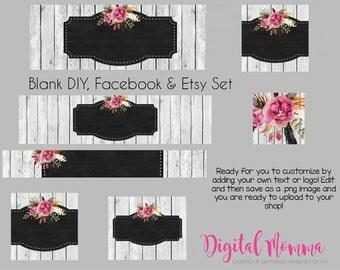 Blank Rustic Wood Floral Shop Graphics, Blank/DIY Etsy, Facebook Set, Instant Download!