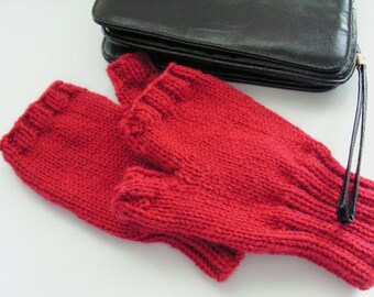 Red Texting Gloves Mitts Adult Size Cashmere Wool Blend Texting Gloves Ready to Ship