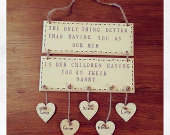 Mothers Day Wooden Sign Plaque shabby vintage family nan grandma mum personalised