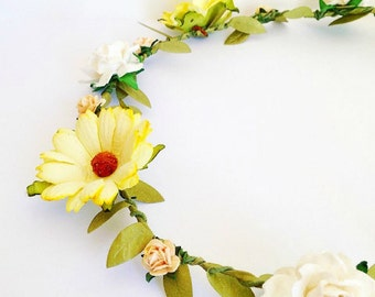 Shabby Chic Fairy-tale Rose & Daisy Flower Crown Halo