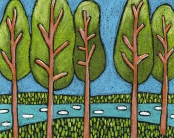 THE GROVE Art Print,Nature Art,Tree Illustration,Landscape Drawing,RanchHouse Art,River Art,Folk Art, Naive Art,Forest Drawing,KidsRoom Art