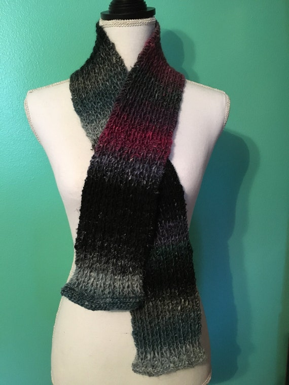Knitting Pattern For Slip Through Scarf : Hand Knit Slip Stitch Scarf Multicolored
