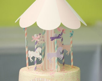 MADE TO ORDER Ooh La La Deluxe Merry-Go-Round Cake Topper Set with name banner