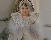 Vintage Angel, Jeanne D'Arc Christmas Angel, Hanging Shabby Victorian Angel, Angel with Feathers, Pastel Angel Christmas Decor