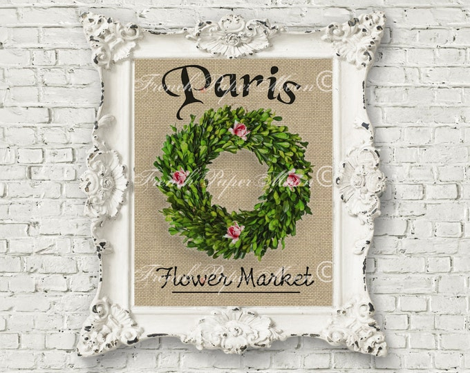 Paris Digital Print, Flower Market, Floral Boxwood Wreath Image, Burlap Background, Digital French Pillow Image