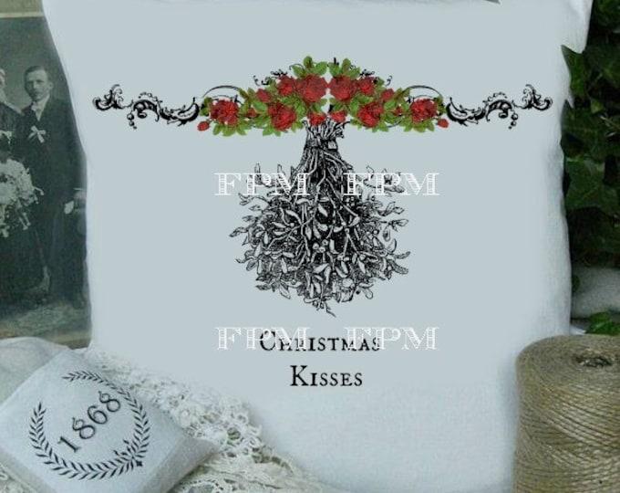 Digital Christmas, Mistletoe Fabric Transfer, Christmas Iron On Fabric, Xmas Pillow Image