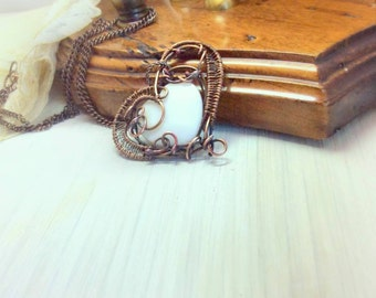 Mother's day Heart. Copper wirewrapped heart. Copper pendant.