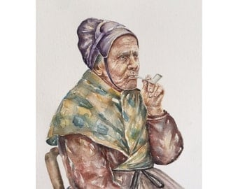Old woman smoking pipe original watercolor portrait,olp people art,figurative painting,woman portrait