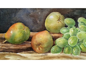 Original Still Life watercolor painting of pears and grapes,wall decor,watercolor art