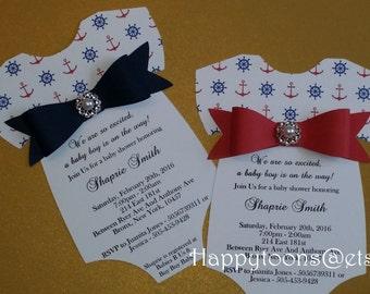 Baby shower invitation, baby shower nautical invitation, babyshower invite