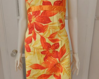 Vintage Hawaiian Strapless  Summer Dress / 1980's Hawaiian Floral Sundress / Alyn Paige Wiggle Dress, Size 4/Small