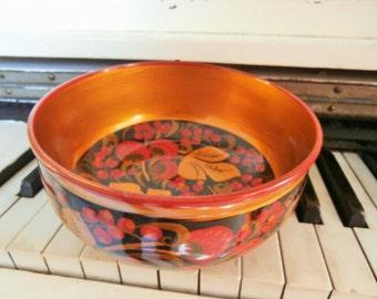 Vintage, Hand Painted Wooden, Khokhloma Bowl, Russian Folk Art