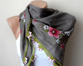 gray cream scarf multicolor scarf floral print scarf cotton scarf turkish scarf womens scarves boho scarf gift for her