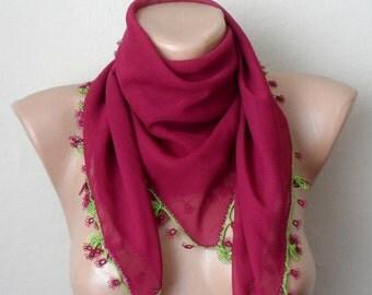 fuchsia pink scarf flower  green pink chiffon turkish yemeni oya handmade