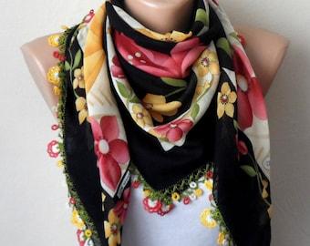 black scarf yellow flower green white pink  cotton turkish yemeni oya handmade