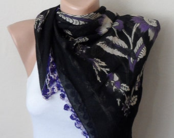 black scarf  purple flower lila white   cotton turkish yemeni oya handmade