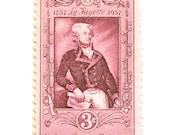 10 Unused 1957 Vintage Pink Stamps // La Fayette // 3 Cent Blush Champagne Vintage Postage Stamps